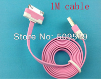 5pcs Noodle Flat USB Sync Data & Charger Cable Colorful  Cable 1M For iphone 4 4g 3 3g ipad 2 3 China post office shipping  #23