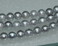 Lots 4STRS AA 9 10mm Luster Grey Round Freshwater Pearl 11939