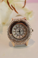 Free Shipping Women Rhinestone Watches Luxury Brands White / black / Red Leather Strap Hand Wind