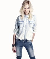 Tailorable haoduoyi seelbach water wash denim straight shirt female snapless pearlizing double pocket