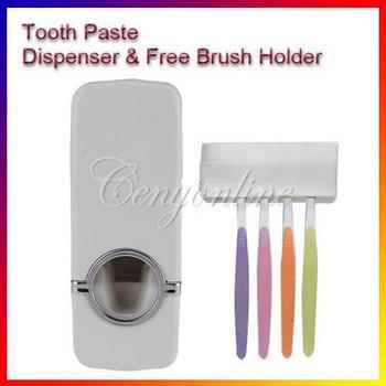 Free Shipping white Fashion Automatic Toothpaste Dispenser +Toothbrush Holder Set Family Set Wall Mount Rack Bath Oral Wholesale