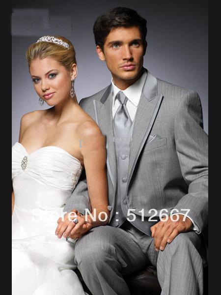 2013 Custom made casamento Light Gray noivo smoking homens ternos Prom Roupa Groomsmen Ternos e Tuxedo ( paletó + calça + colete + empate)