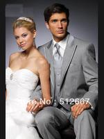 2013 Custom made Light Gray Groom Tuxedos Wedding Suits Men Prom Clothing Groomsmen Suits & Tuxedo (jacket+pants+waistcoat+tie)