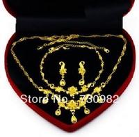 romantic 9k 14k 18 k yellow gold roses  women jewelry sets  DIY  butterfly  Fashion Jewelry  wedding  gift  free shipping
