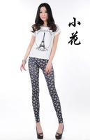 2014 autumn seamless printed faux denim jeans leggings trend of the small flower leggings pencil pants