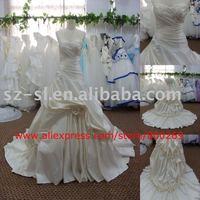 Real Sample Satin Chapel Train Bridal Wedding Gown SL-4085