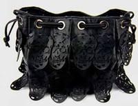 retro lady hollow-out skull  drawstring bag  women shoulder handbag inclined cross female tote bag #0159