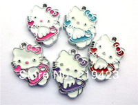 50pcs 20x15mm Hello kitty with heart Enamel Zinc alloy Metal DIY Hang Charms Pendands Jewelry accessories Fit cellphone