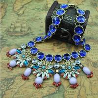Supply new fashion vintage amazing blue flower delicate acrylic stone short necklace for women
