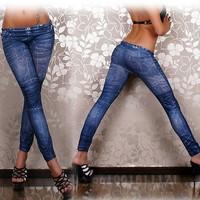 HOT SALE WOMEN'S ELASTIC WAIST RETRO FOLD STRETCH JEANS SLIM LEGGINGS WF-45372