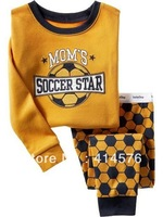 Yellow football designed for children baby pajamas 100% cotton long-sleeved design     6sets/lot (6 sizes)