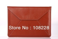 "New Fasion Brown Briefcase Sleeve Laptop Genuine Leather Case Cover For MacBook Air 13""  Envelope sleeve free shipping"