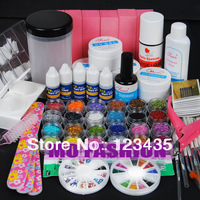 Free shipping 2013 new hot sale PRO UV GEL NAIL KIT + 24 Powders 5 Glues FILE BLOCKS Primer Tips kits Sets 215