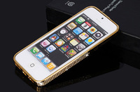 Brand Designer Luxury Bling Swarovski Diamond Crystal Aluminum Bumper Cover For Apple Iphone 5 5G Mobile Phone Cases Protector