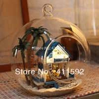 Hot wheels handmade mini glass house wooden romantic Aegean sea dollhouse wholesale