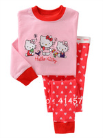 Hello kitty cute pink baby designed for children 100% cotton long-sleeved pajamas   6sets/lot (6 sizes)
