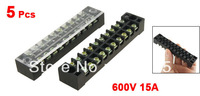 5 Pcs Dual Row 10 Position Screw Terminal Block Connector 600V 15A