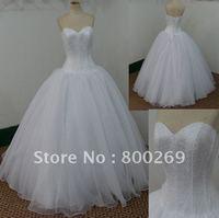 SL-4893 Free Shipping Ball Gown Floor Length Organza Wedding Dresses