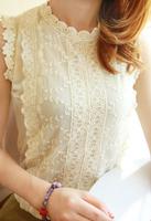 Summer female top sleeveless scalloped lace chiffon shirt basic shirt  camisas chiffon women