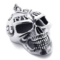 316l stainless steel accessories titanium skull male necklace pendant