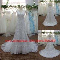 Cap sleeve A-line wedding dress sweep train SL-4076