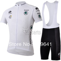free shipping!2013  white Tour de France team short sleeve cycling jersey + bib shorts Kit,summer biking wear.cycling clothes