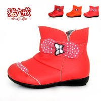 Pig leather female child baby cotton-padded shoes large cotton thermal baby shoes boots