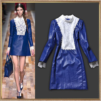 2013 European Autumn Winter Fashion Women Top Grade Runway Blue PU Dresses