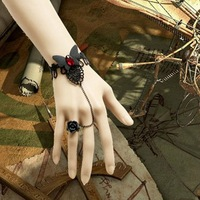 Min Order $18(Can Mix Item)Top selling products 2013 goth black lace wriststrap butterfly bracelet flowers ring