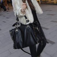 Female black rivet punk satchel bag women  shoulder handbag lady big  tote bag #0174