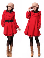 free shipping 2013 new arrive autumn winter cloak turn-down collar overcoat  woolen outerwear one-piece female dress xf022