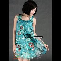 278 . luxury organza fashion summer spaghetti strap one-piece dress