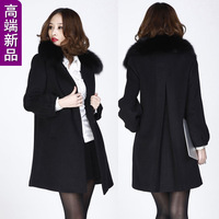 Women's 2013 spring slim cashmere wool coat autumn and winter elegant fox fur