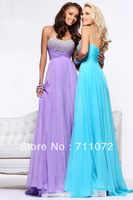 Best Selling New A Line floor Length Chapel Train Chiffon Beaded Crystle Spaghetti Strap Prom Dress 2013