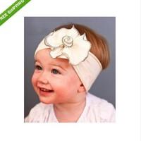 Adorable Pure White Baby big flower Headband / infant cotton hairband /Girls Bow Baby Headband E2536