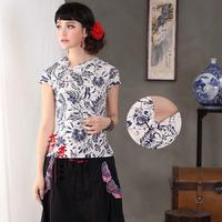 Fresh linen crescendos fluid cheongsam top vintage short-sleeve top blue and white porcelain