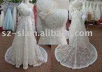 One-shoulder wedding gown chapel train in stock SL-3387