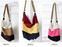 2013 stripe canvas bag messenger bag fashionable casual student school bag women's handbag shoulder bag