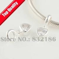 Love Heart Clear Crystal 925 Sterling Silver Dangle Spacer Charm Beads, DIY Jewelry Fit European Troll Charm Bracelet YB179B