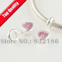 Trendy 100% 925 Sterling Silver Dangle Spacer Charm Beads with Pink Heart Crystal, DIY Jewelry Fit Charm Bracelet YB179C