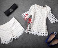 2013 fashion white polka dot empty thread embroidered fashion set female half sleeve gd085 twinset