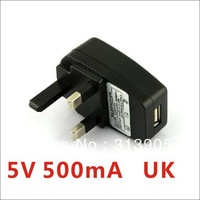 Free shipping Portable AC UK Charger Power Adapter to USB UK for Mobile Phone Tablet PC MP4 MP3 5V 500mA