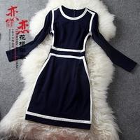 Fashion stripe comfortable solid color o-neck stripe slim stretch cotton one-piece dress gd171