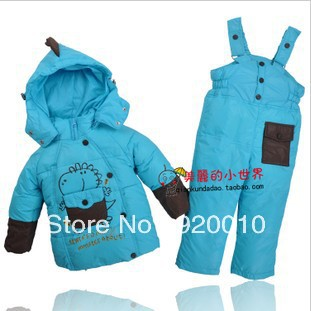 2013 Children Down Coat Set Male Female Clothing Baby Boy Girl Jacket Coat+Pant Suit Outwear 7Colors For 90-110cm