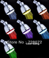 Free Shipping 1pcs New 7 Changing Colour LED Light Bathroom SHOWER HEAD-LD8010-A6