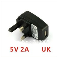Free shipping (10pcs/lot) Portable AC UK Charger Power Adapter to USB EU for Mobile Phone Tablet PC MP4 MP3 5V 2A