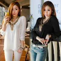 Ethnic Style Womens Shirt Vintage pearl Copper Chain Long Sleeve Top Casual/ career V-neck loose chiffon shirt blouse