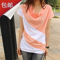 Free shipping + 2013 summer fashion clothes women's slim T-shirt short-sleeve summer plus size basic shirt
