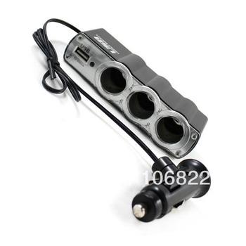 DC 12V 1 to 3 Car Cigarette Lighter Socket Power Adapter Splitter with 1 USB Port YM0040