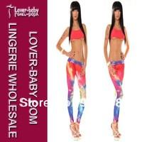 Ladies Sexy Colorful Lightning Print Stretchy Digital printing Leggings